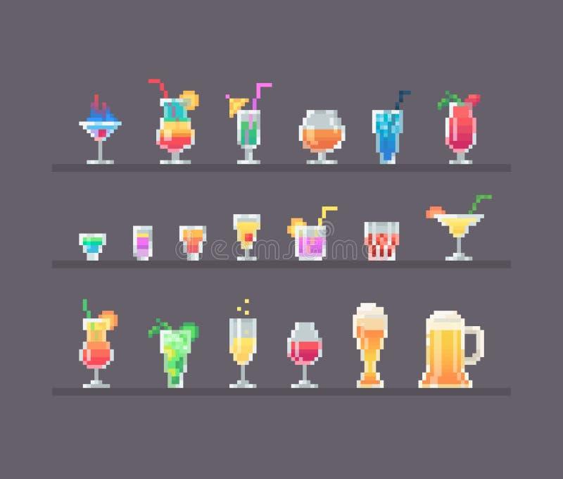 Ensemble de boissons et de cocktails d'alcool de style d'art de pixel illustration stock