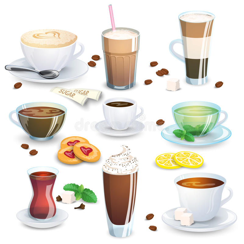 Ensemble de boissons non alcoolisées - thé, tisane, chocolat chaud, latte, compagnon, café, et petites additions pour les boisson illustration libre de droits