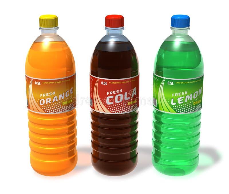 Ensemble de boissons régénératrices dans des bouteilles en plastique illustration de vecteur