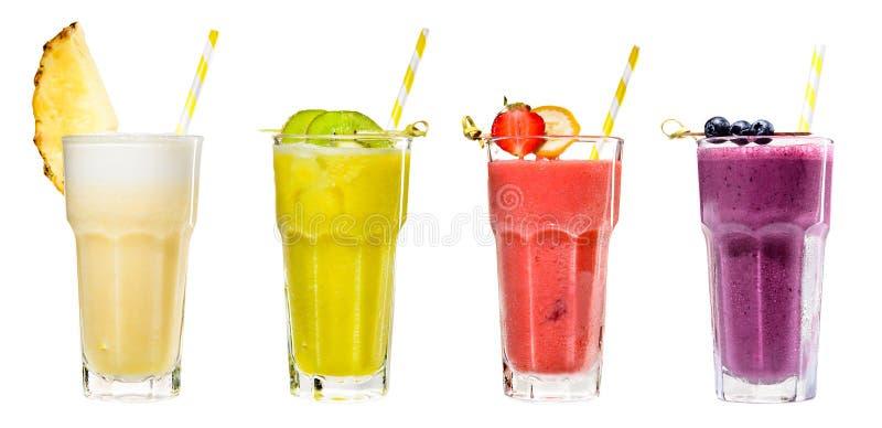 Ensemble de boissons saines naturelles fraîches de smoothies délicieux frais classiques image libre de droits