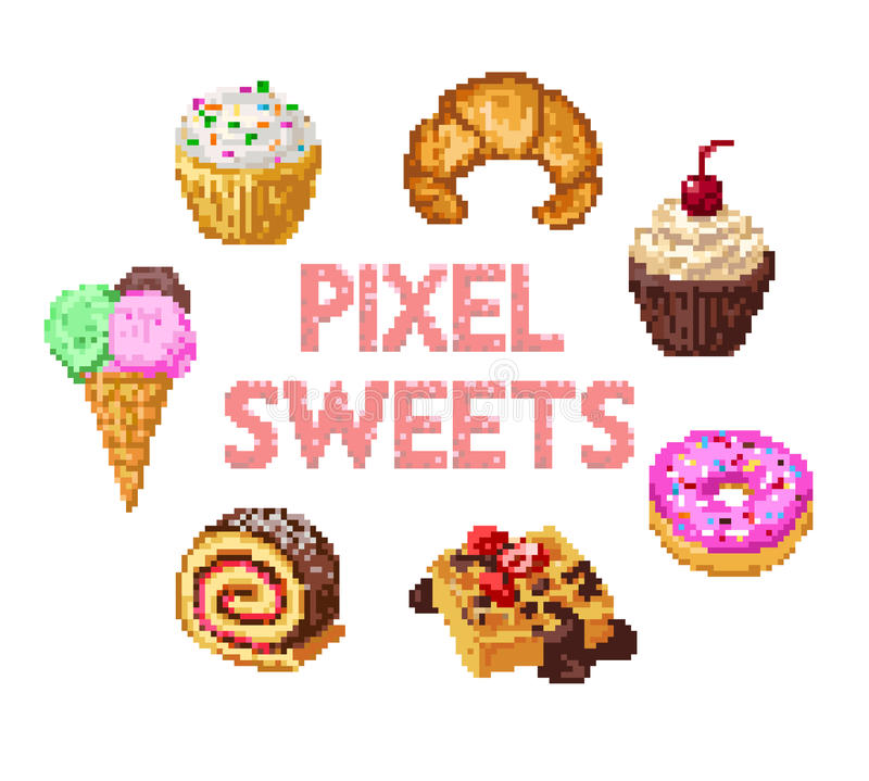 Ensemble de bonbons à pixel illustration stock