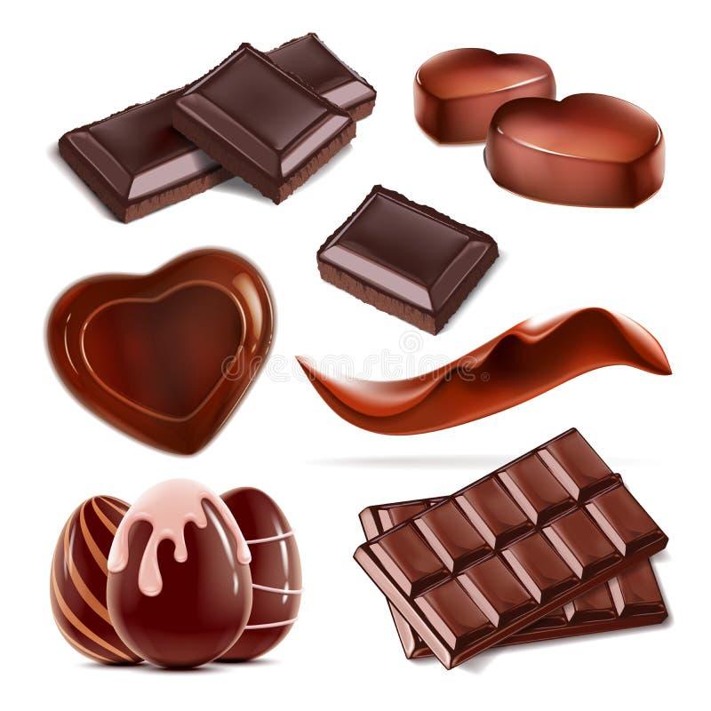 Ensemble de bonbons au chocolat coupés par morceau illustration libre de droits