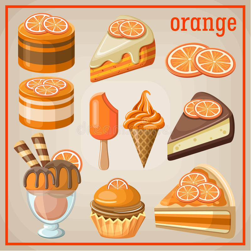 Ensemble de bonbons avec une orange illustration libre de droits