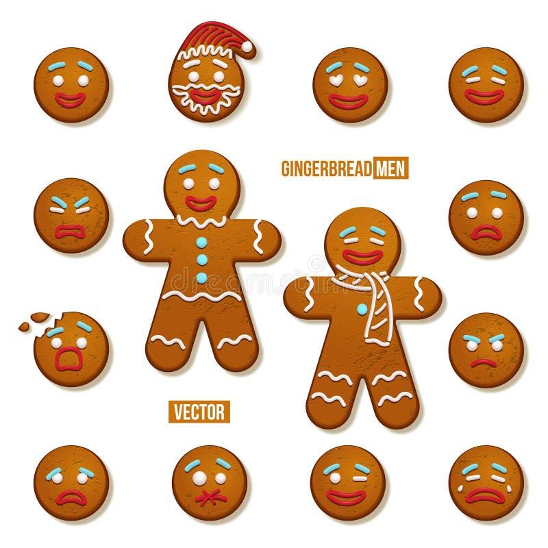 Ensemble de bonhommes en pain d'épice et de visages de bonhomme en pain d'épice Éléments de vacances de Noël de vecteur et de nou illustration libre de droits