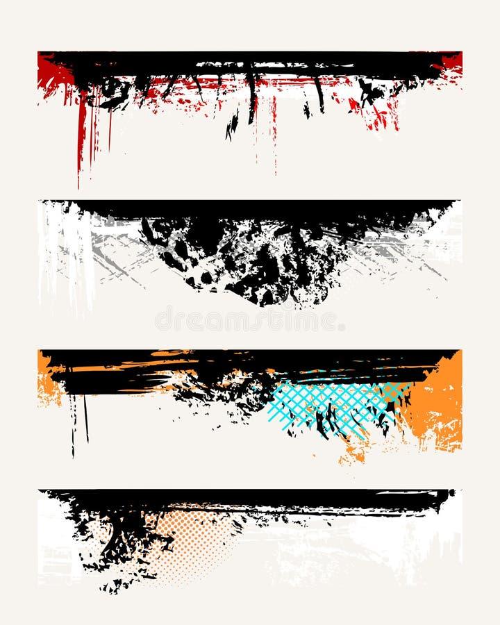 Ensemble de bords grunges illustration stock