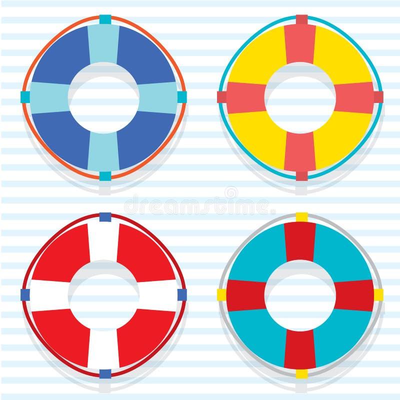 Ensemble de bouée de sauvetage colorée illustration libre de droits
