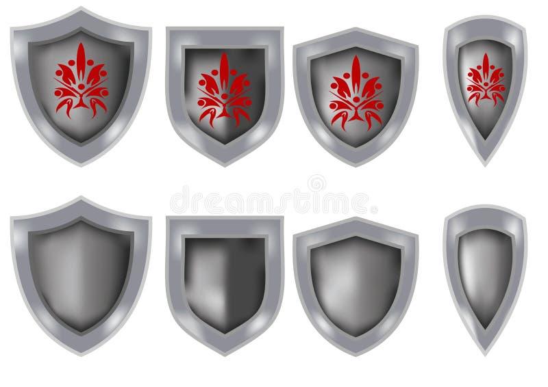 Ensemble de boucliers de chevalier illustration stock