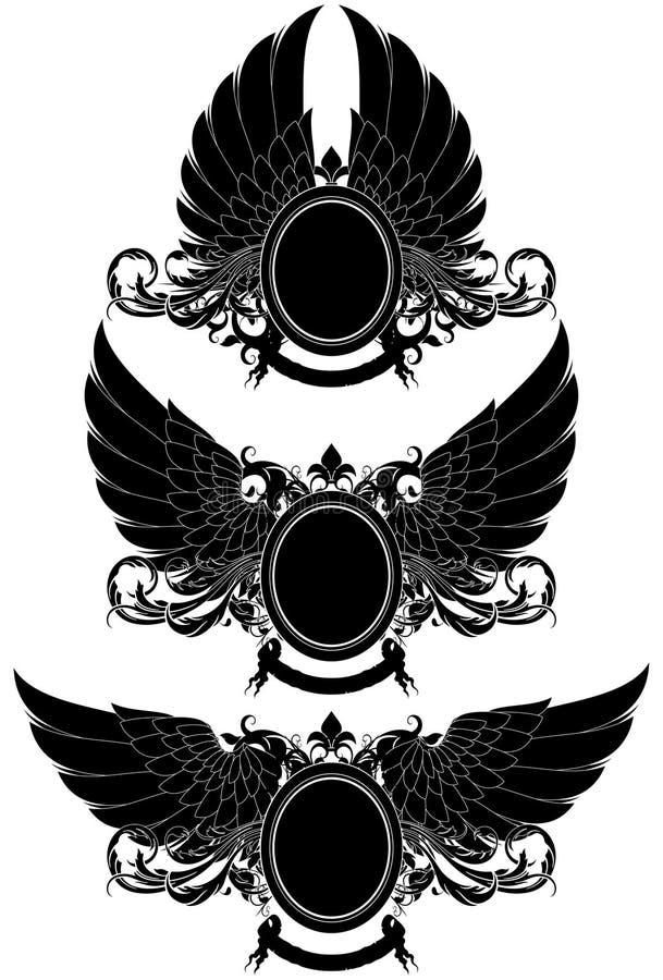 Ensemble de boucliers héraldiques ornementaux illustration de vecteur
