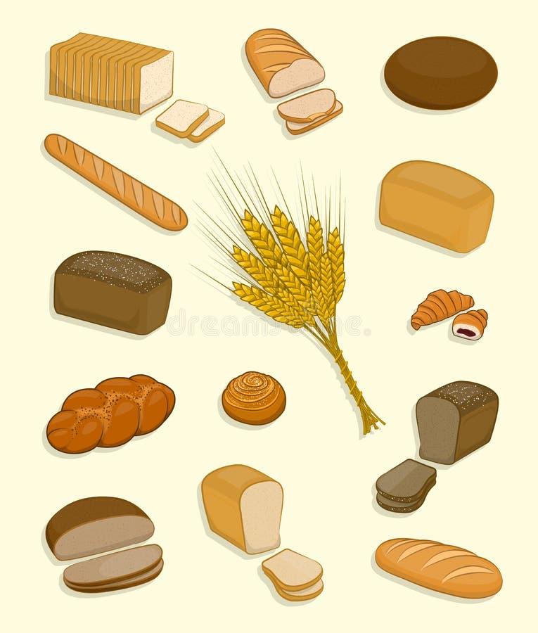 Ensemble de boulangerie et de confiserie sur un fond blanc illustration stock
