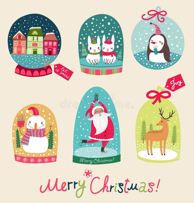 Ensemble de boule de neige de Joyeux Noël illustration de vecteur