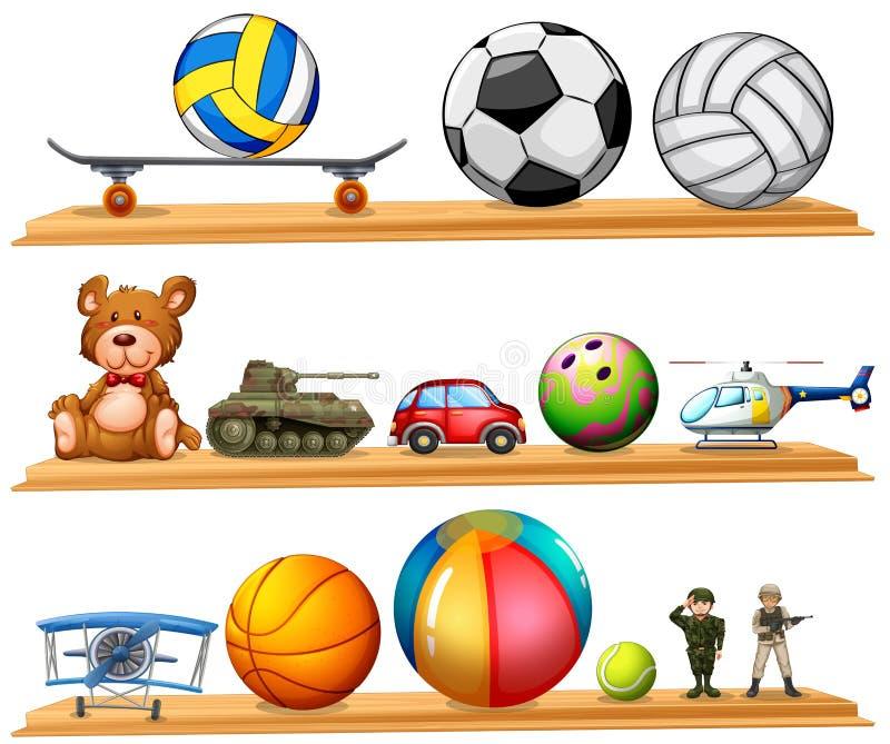 Ensemble de boule et d'autres jouets illustration libre de droits