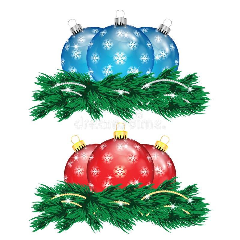 Ensemble de boules de Noël et d'arbre de Noël rouges et bleus illustration stock