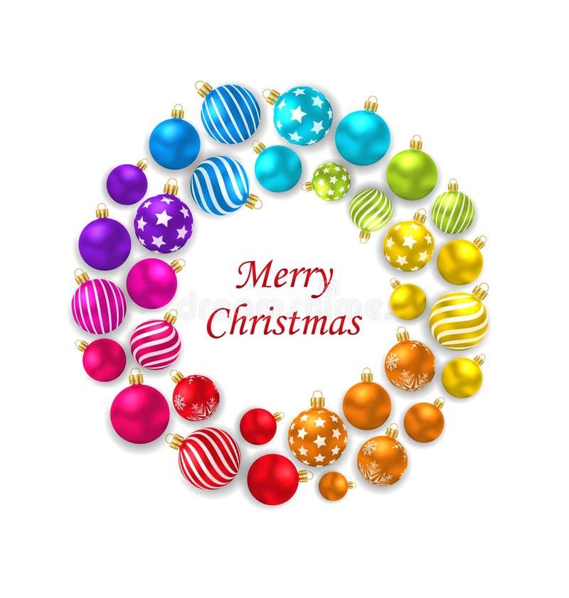 Ensemble de boules en verre de Noël coloré, cadre rond illustration stock