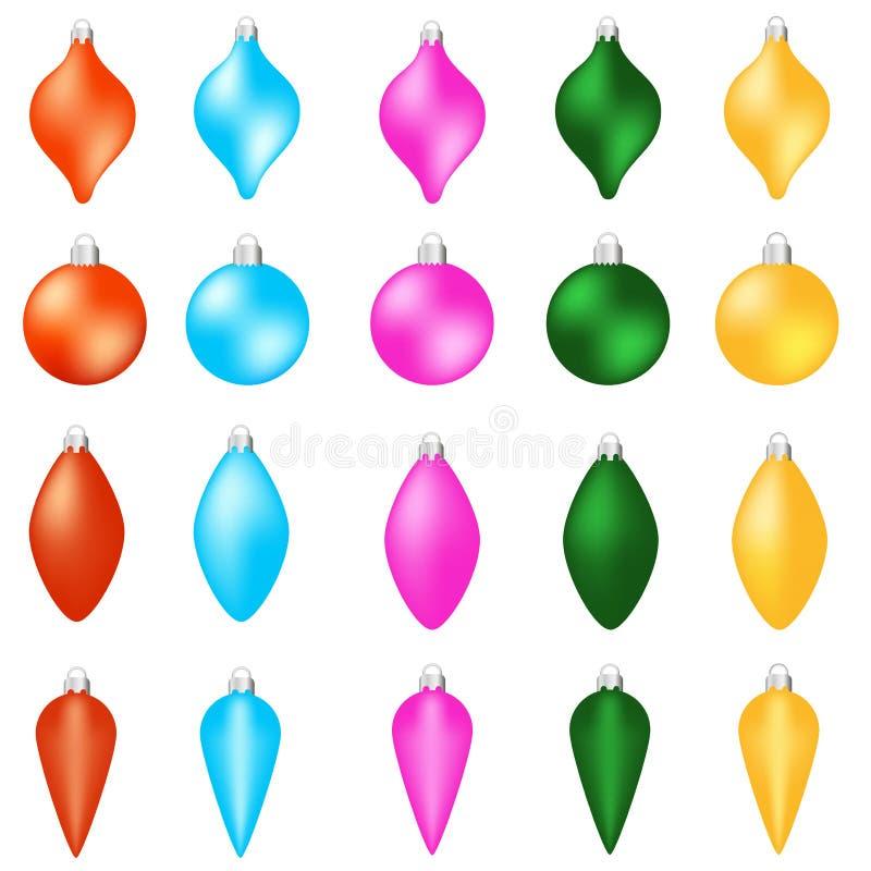 Ensemble de boules de Noël de couleur Décoration de Noël d'isolement sur le fond blanc illustration stock