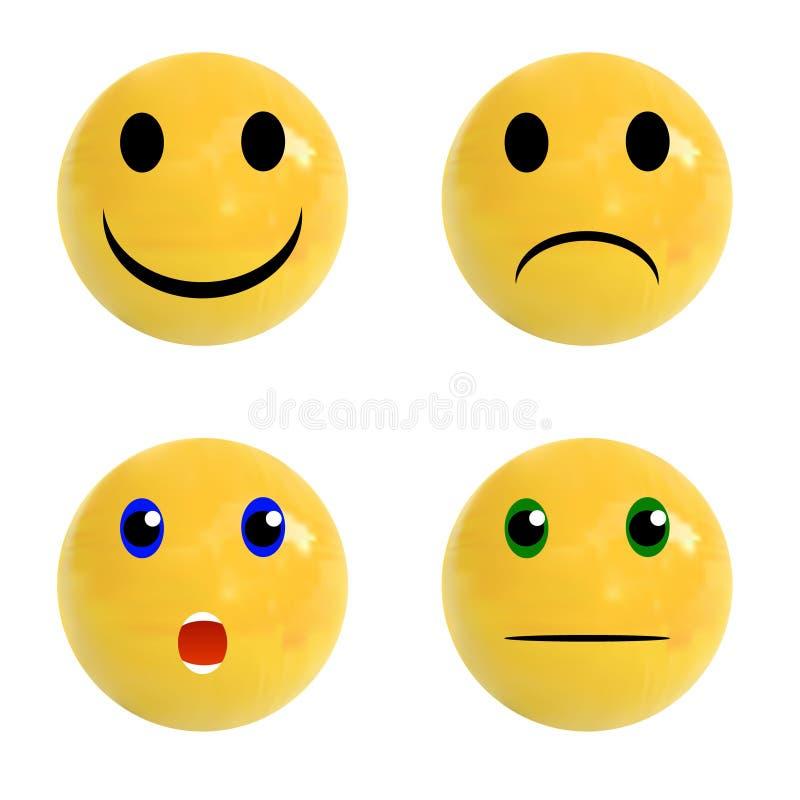Ensemble de boules réalistes avec les visages émotifs là-dessus, ensemble de VECTEUR illustration de vecteur