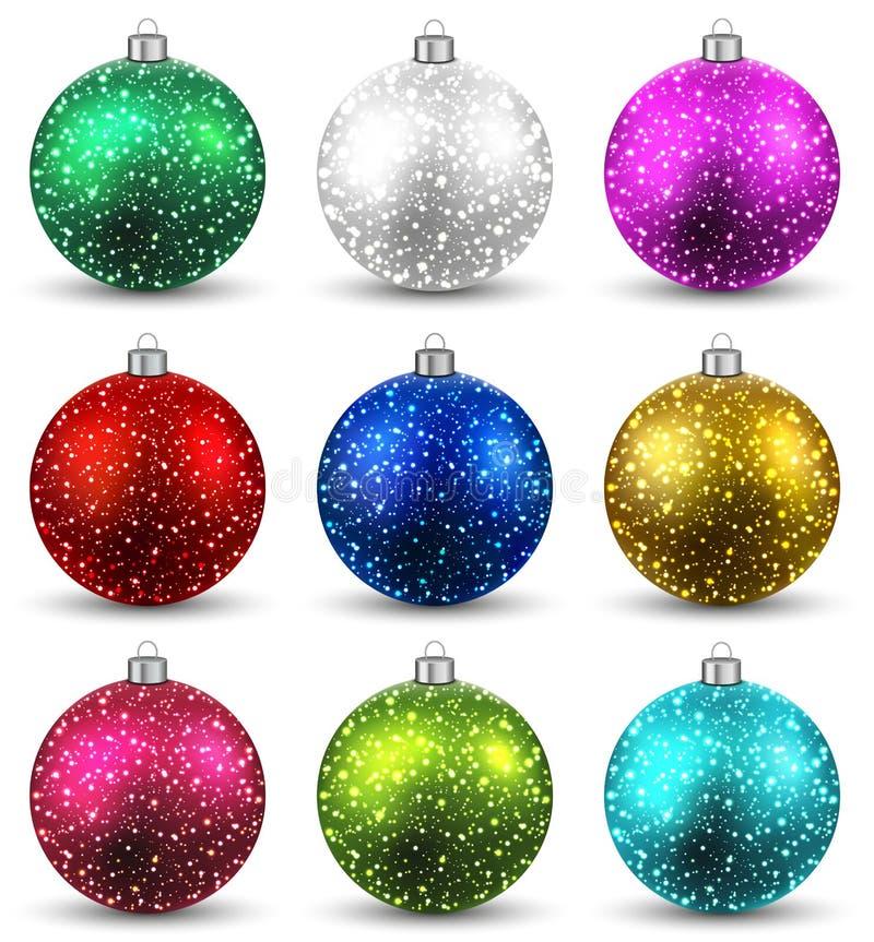 Ensemble de boules réalistes de Noël. illustration de vecteur