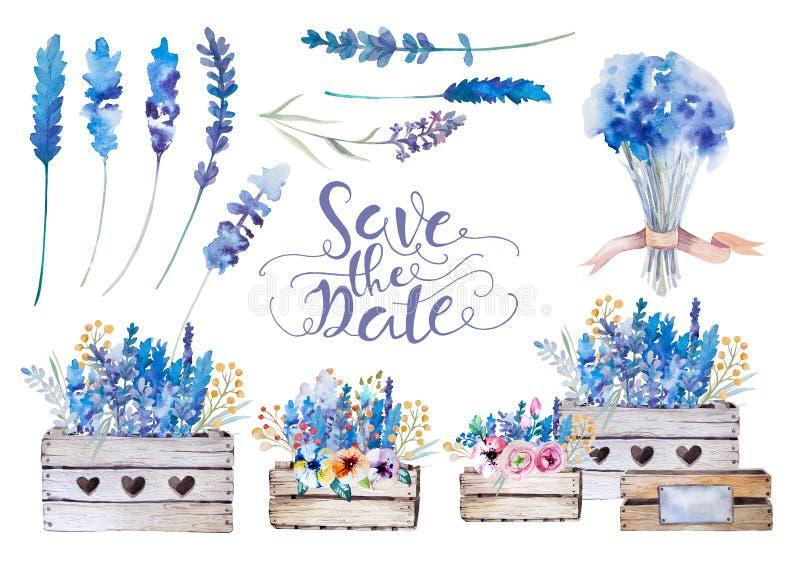 Ensemble de bouquets d'atercolor Fleurs de ressort dans le pot rustique illustration stock