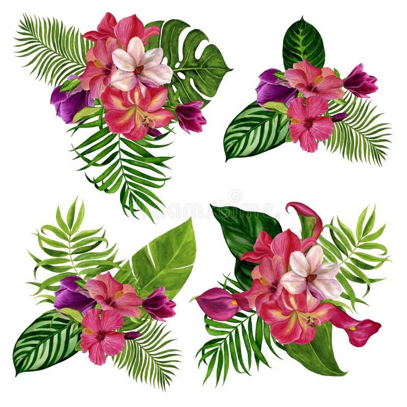 Ensemble de bouquets des fleurs Illustration d'aquarelle Éléments distincts sur un fond blanc photographie stock libre de droits