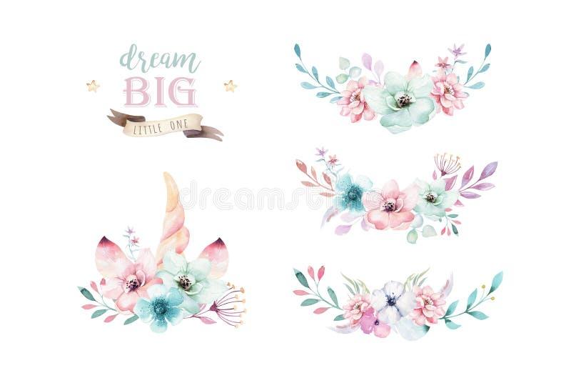Ensemble de bouquets floraux de boho d'aquarelle Cadre naturel de Bohème pour aquarelle : feuilles, plumes, fleurs, d'isolement s illustration libre de droits