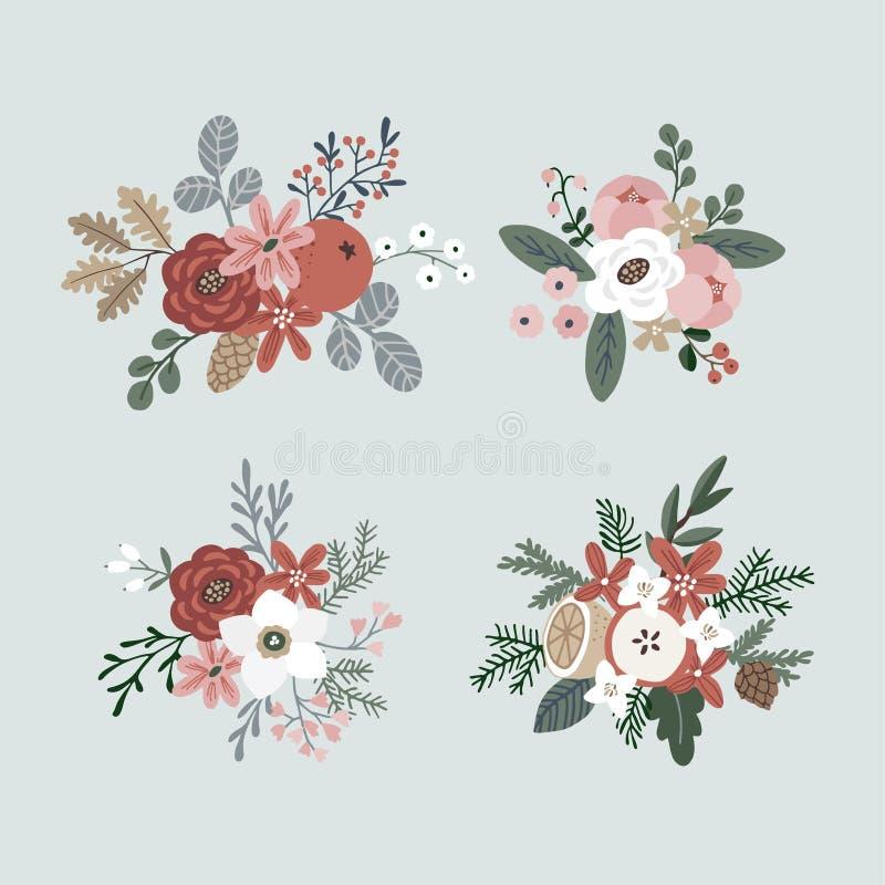 Ensemble de bouquets tirés par la main d'hiver faits de branches, feuilles, baies, fruit et fleurs à feuilles persistantes Noël f illustration libre de droits