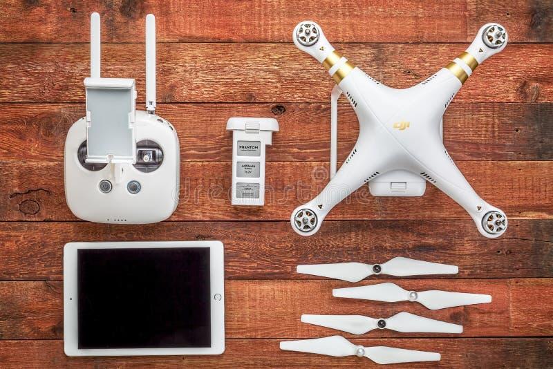Ensemble de bourdon de quadcopter du fantôme 3 photographie stock libre de droits