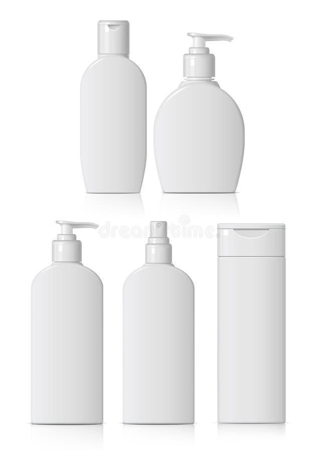 Ensemble de bouteille cosmétique réaliste illustration libre de droits