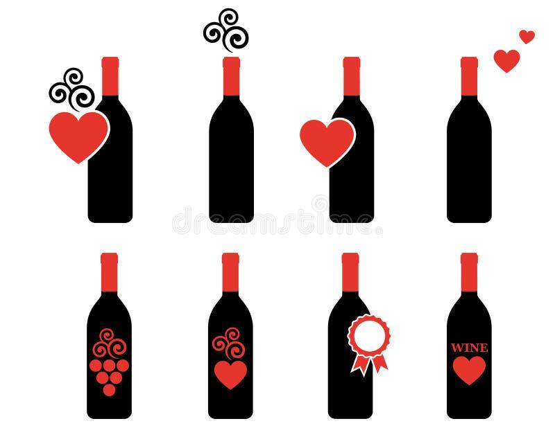 Ensemble de bouteille de vin avec l'élément de conception illustration de vecteur