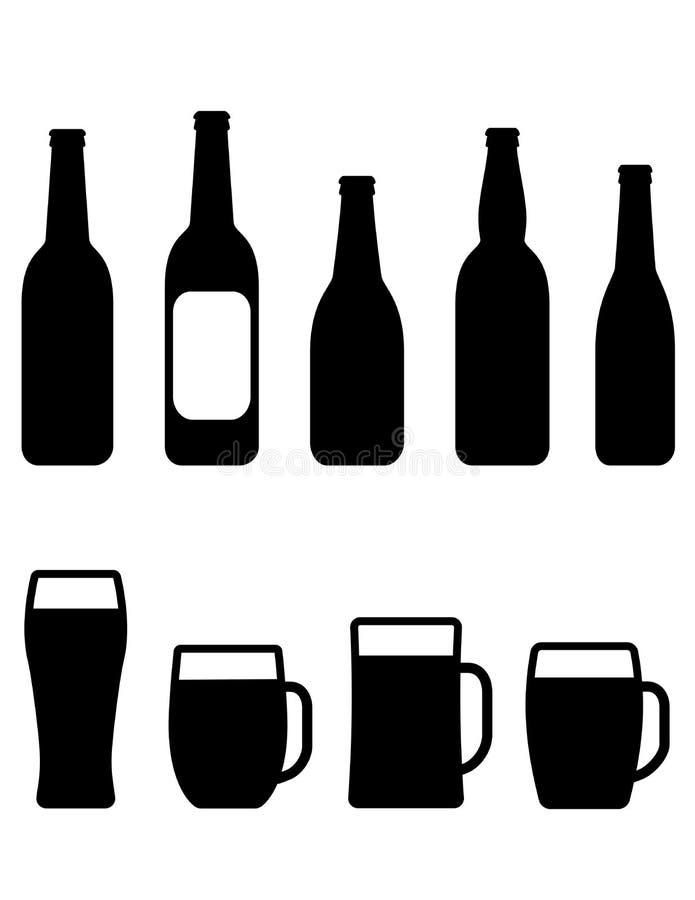 Ensemble de bouteille et de tasse à bière illustration libre de droits