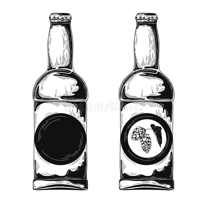 Ensemble de bouteilles à bière Illustration de vecteur croquis illustration stock