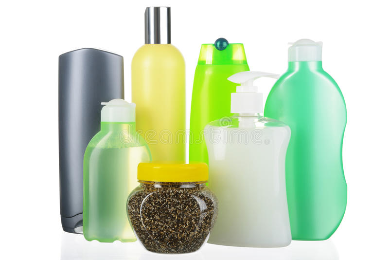 Ensemble de bouteilles cosmétiques image libre de droits