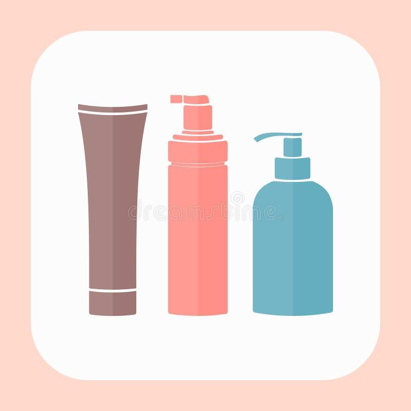 Ensemble de bouteilles cosmétiques plates de vecteur illustration de vecteur