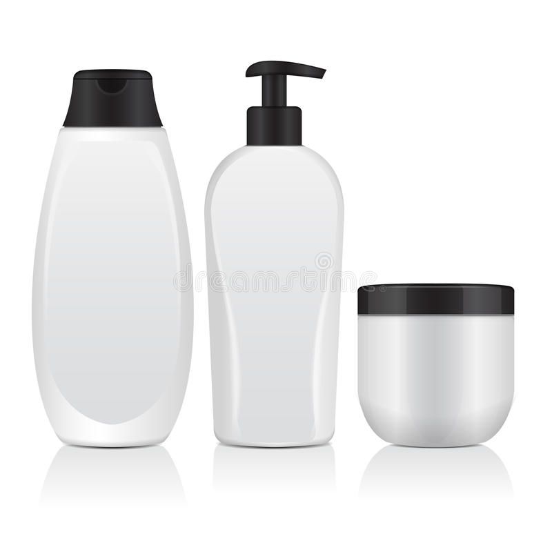 Ensemble de bouteilles cosmétiques réalistes Tube, récipient pour la crème, bouteille avec Dispencer Moquerie de vecteur vers le  illustration libre de droits