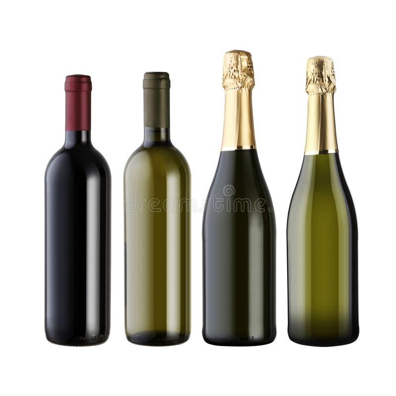 Ensemble de bouteilles de vin images stock