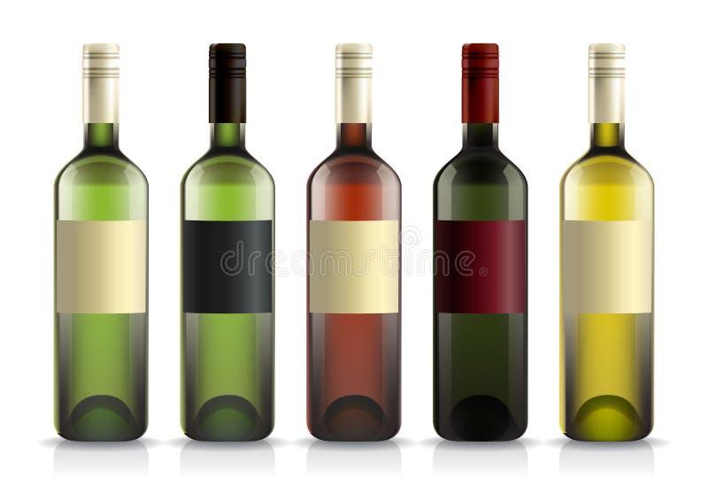 Ensemble de bouteilles de vin avec des labels illustration de vecteur