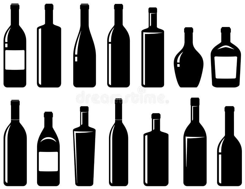 Ensemble de bouteilles de vin brillantes illustration de vecteur