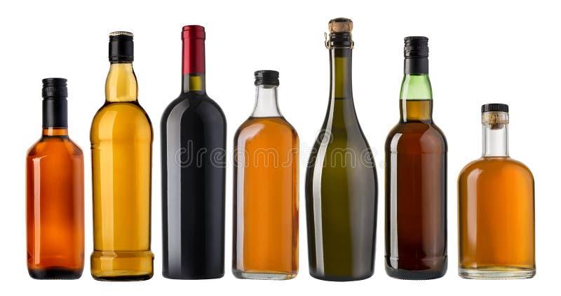 Ensemble de bouteilles de vin et d'eau-de-vie fine photos libres de droits