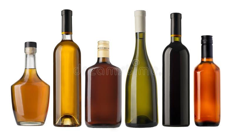 Ensemble de bouteilles de vin et d'eau-de-vie fine photos stock