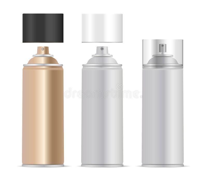 Ensemble de bouteilles en métal de jet d'aérosol Désodorisant, peinture illustration stock
