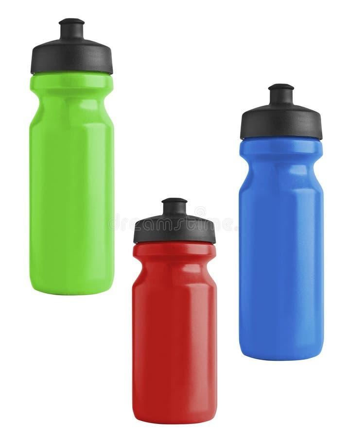 Ensemble de bouteilles en plastique de bicyclette vide pour l'eau d'isolement image libre de droits