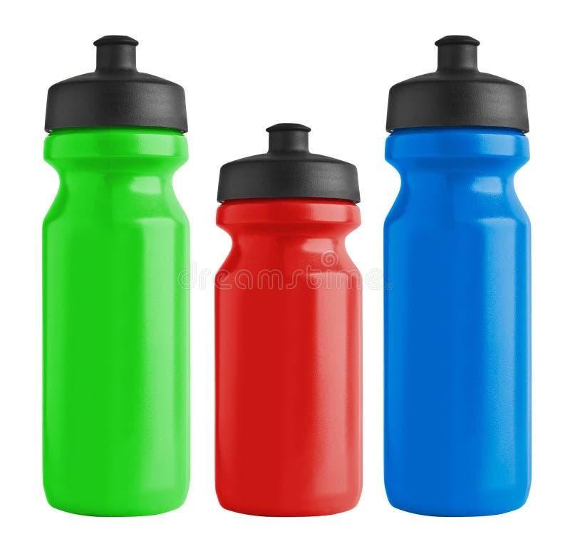 Ensemble de bouteilles en plastique de bicyclette vide pour l'eau images stock