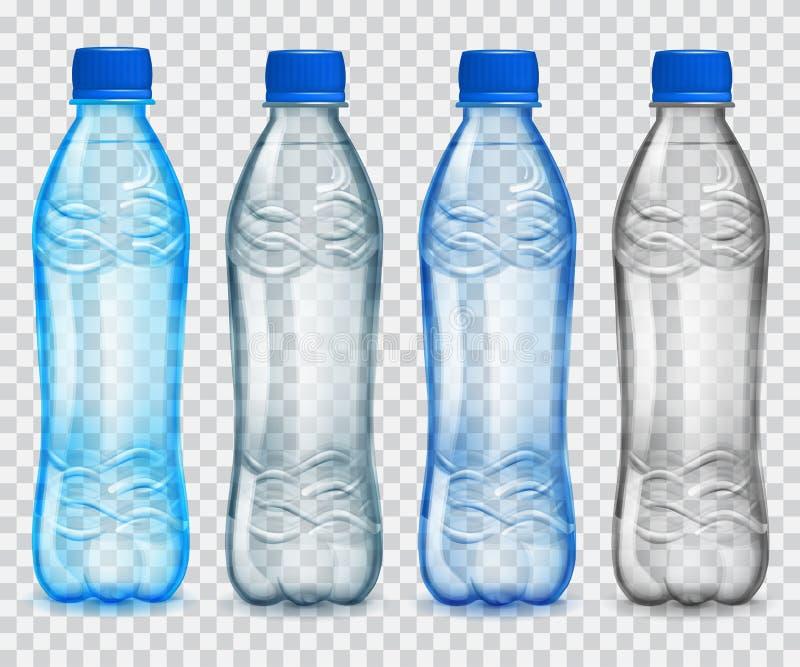 Ensemble de bouteilles en plastique transparentes avec de l'eau minéral illustration libre de droits