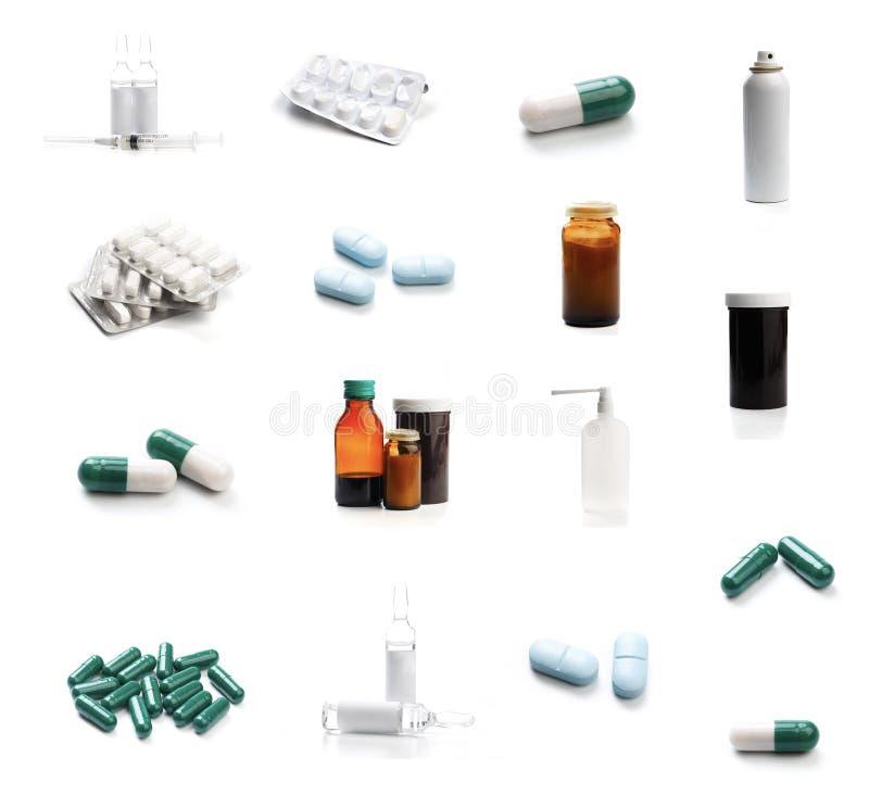 Ensemble de bouteilles et de pilules de fiole sur le fond blanc M?decine, soins de sant? et concept pharmaceutique de drogues - I image libre de droits
