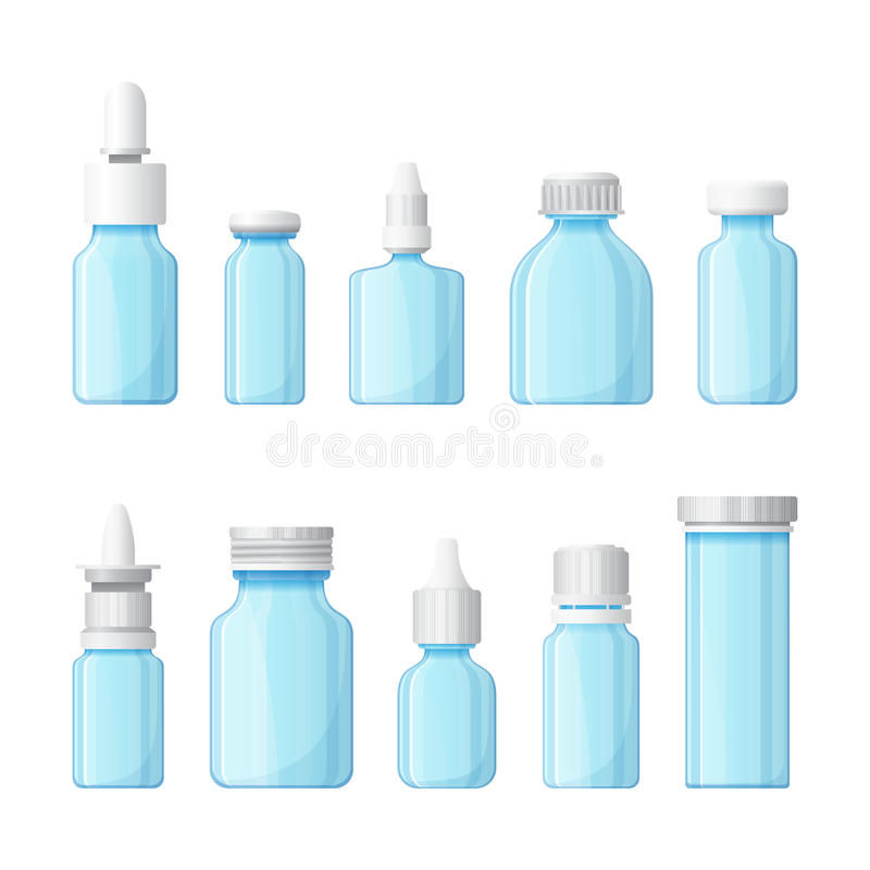 Ensemble de bouteilles médicales de vecteur dans le style plat illustration de vecteur