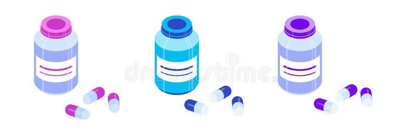 Ensemble de bouteilles de pilule illustration libre de droits