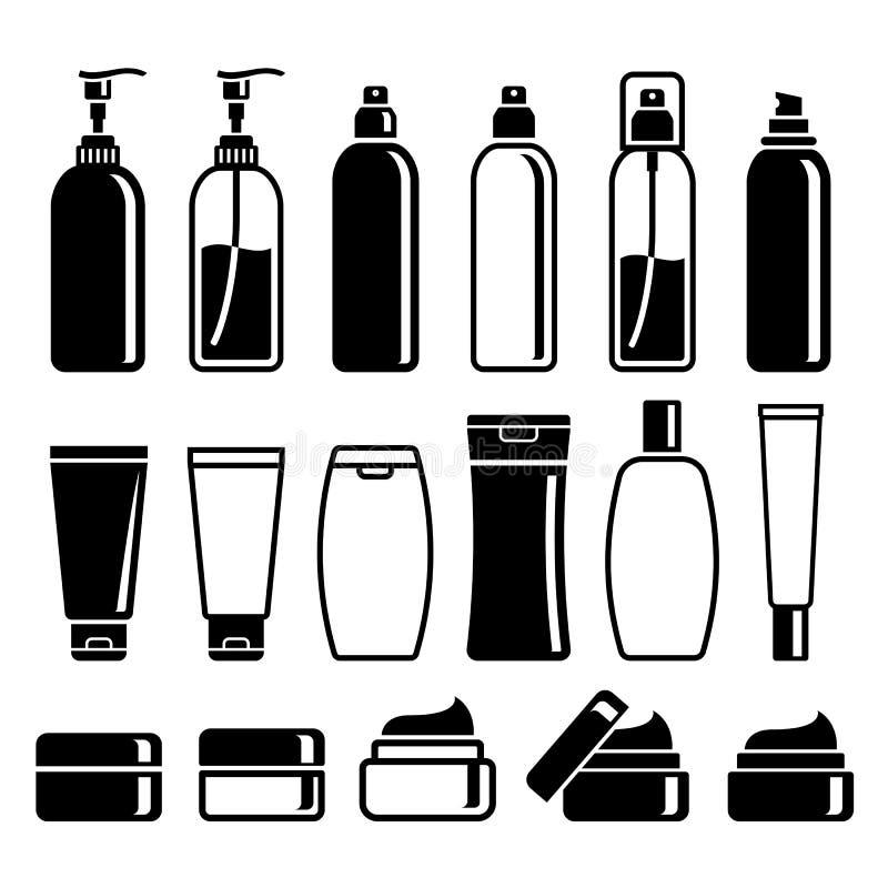 Ensemble de bouteilles de produits de beauté illustration de vecteur