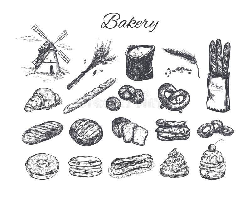 Ensemble de boutique de boulangerie illustration stock