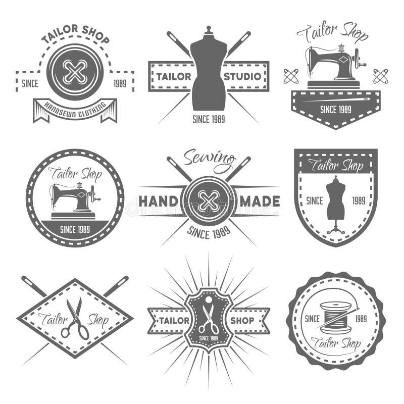 Ensemble de boutique de tailleur d'emblèmes monochromes de vecteur illustration libre de droits