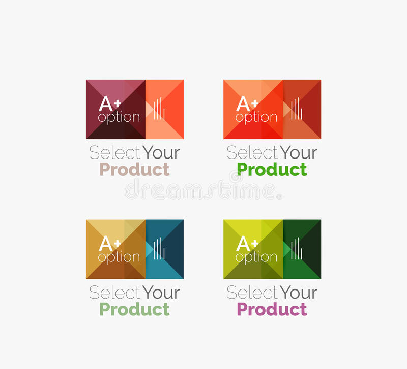 Ensemble de bouton carré abstrait de navigation de menu d'interface illustration stock