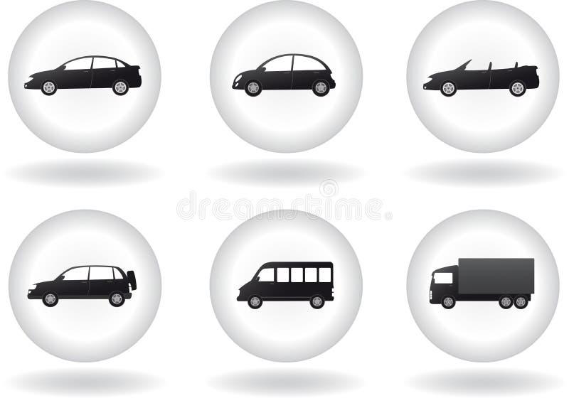 Ensemble de bouton de transport avec le signe de véhicule illustration de vecteur