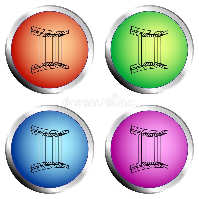 Ensemble de bouton poussoir de cercle coloré d'ICÔNE de GÉMEAUX de ZODIAQUE - illustration de vecteur illustration libre de droits